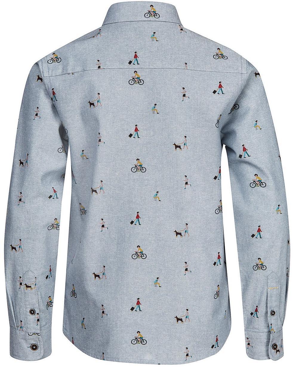 Hemden - Helltürkis - Jeanshemd aus Biobaumwolle mit Print